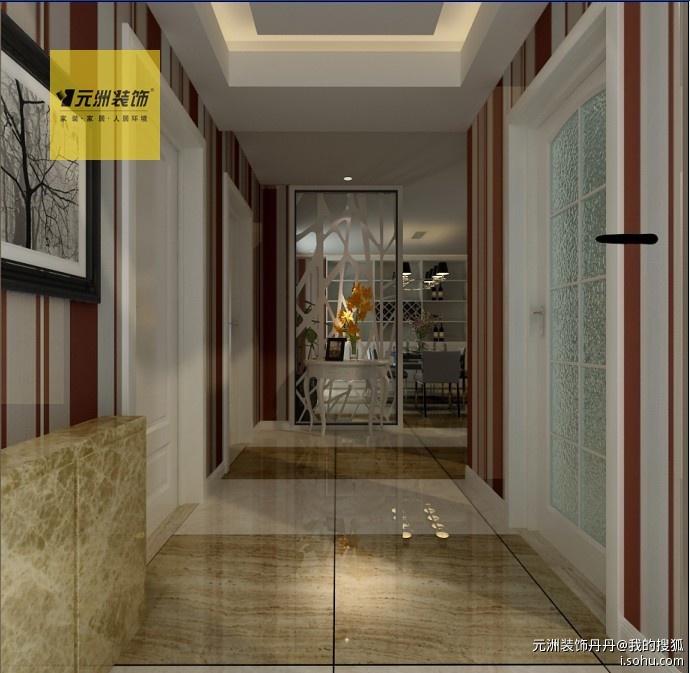 门厅:由于入户门正对餐厅,我们加入了镂空花格作为玄关,门厅高清图片