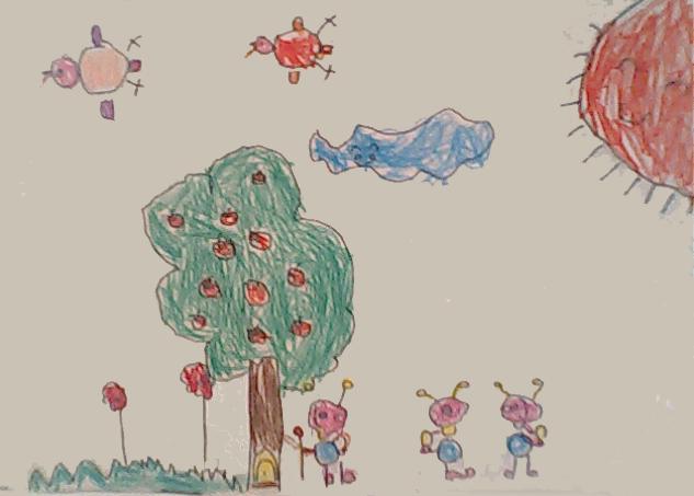 儿童画《可爱的小鸡》《快乐的小树》《热带鱼》《小