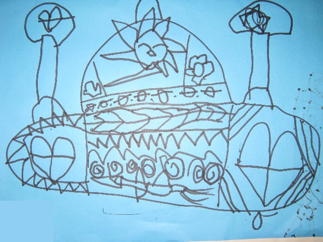 """中班孩子们画的线条画""""画帽子""""-蘑菇与大树的幸福"""