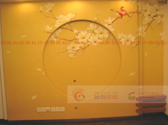 苏州中式装修手绘电视背景墙-工笔玉兰花