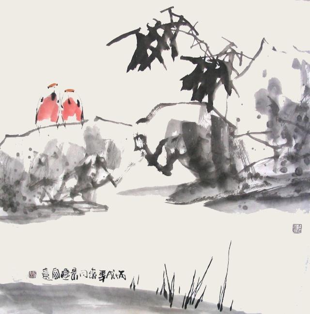画坡石水口苔草,亦应深入现实作具体观察研究,并随时用速写记录,以供创作时参考。若不能取材于现实,则难得自然之趣。昔年予每至大山实习时,即随时在写生花鸟之余,认真观察花和鸟的生活环境,随笔速写,加以记录。1962年夏率学子趋黄山实习,一次在下后山时,由莲花峰直下三千级至丞相原,沿路山深林密,雾气蓊郁,岩崖幽暗,杂树丛生。其树木交织处,老干轮 偃蹇,如卧虎虬龙。树下苔封藓绣,青紫交错,翠绿蟠驳,苔和藓分界极为显明。每遇乱石、水口、瀑布、山泉,则驻足写生,心识手记,此行所得,成绩极大。 综观坡石水口苔草,于花