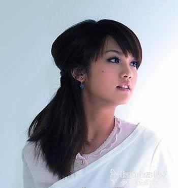 齐刘海卷发发型扎法 明星示范发型