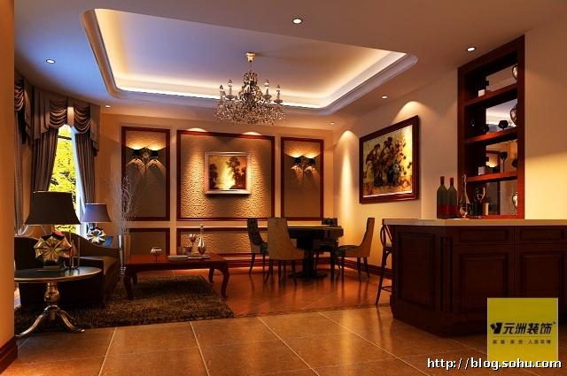别墅300平米美式风格设计装修效果图
