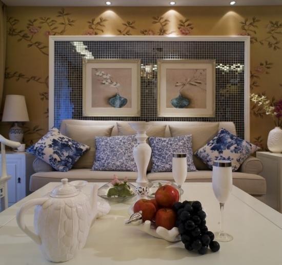 的水墨画演绎139平新中式三居室房子装修实景图----沙发背景墙