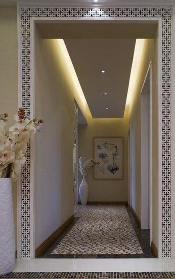 幽幽的水墨画演绎139平新中式三居室房子装修实景图----过道