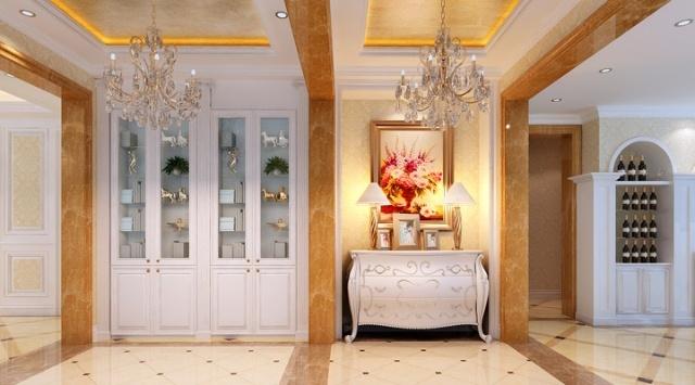 顶面灯带和壁灯的装饰以烘托豪华效果.餐厅的圆形的吊顶,配