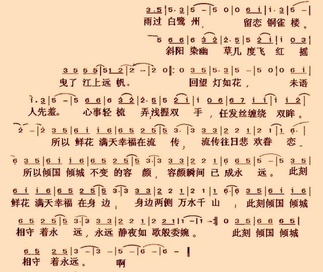 轻钢琴曲 曲谱-倾国倾城简谱 钢琴谱