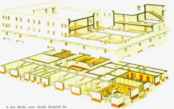 在罗马城内,富人住的是带花园庭院的平房,穷人只能住公寓。上面是一栋五层公寓楼(insula)的结构图,一楼靠街的屋子都是商铺,其余的住人。楼中间是天井,给中间的屋子提供光照。一楼和二楼有公厕,各有九到十个位子。这样一个公寓大概住40人,根据4世纪中期的普查,罗马城有46602栋房子,大部分是这样的公寓楼。