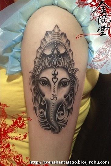 象神纹身图案胳膊
