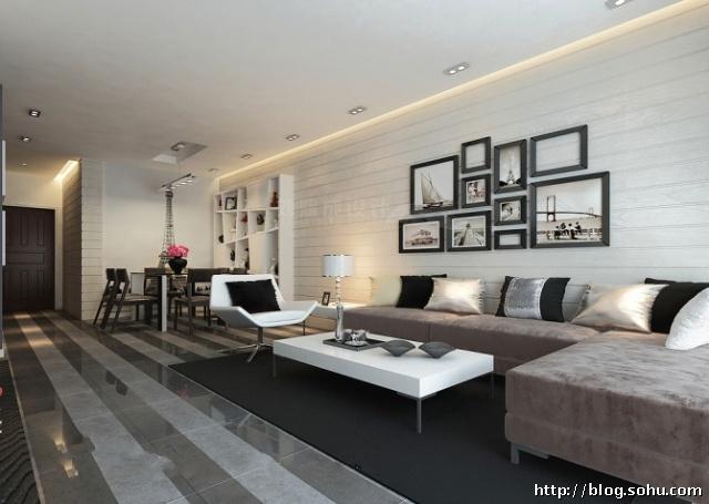 黑白经典80平米两居室现代风格装修工程造价3